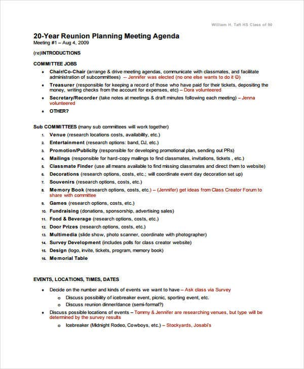 agenda template for reunion planning