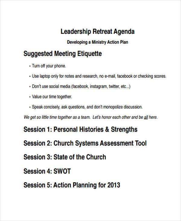 leadership retreat agenda template