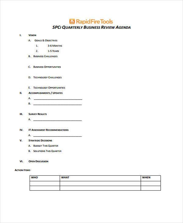 business review agenda
