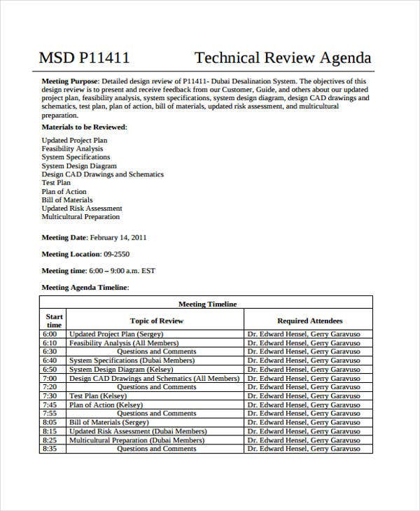 Design Review Agenda