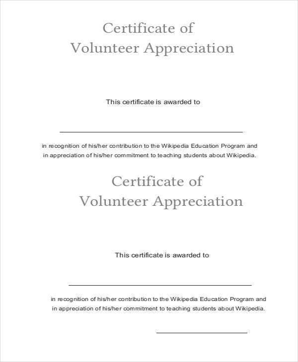 27 certificate of appreciation templates free sample example sample certificate of volunteer appreciation yelopaper