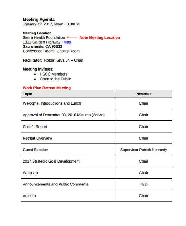 retreat meeting agenda template