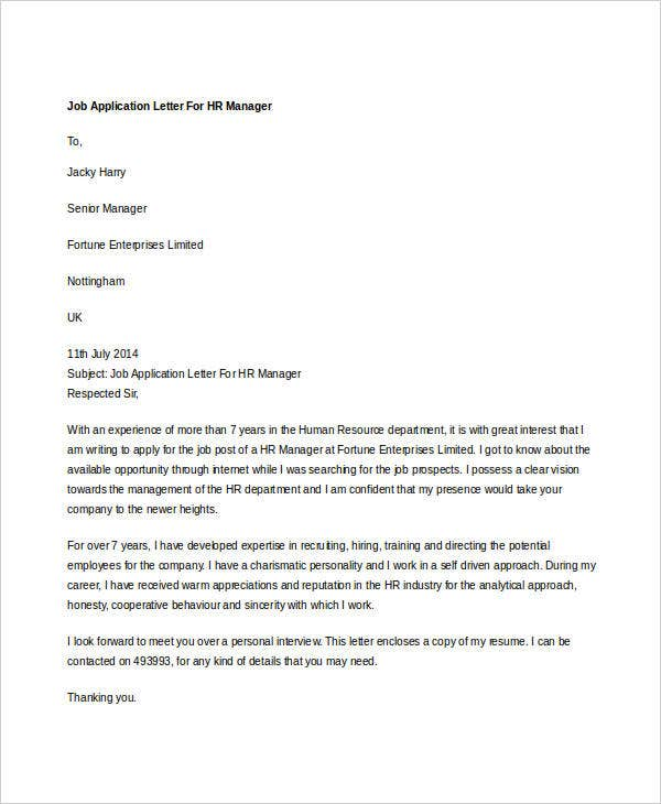 Job Application Letter For HR Manager  Hr Sample Cover Letter