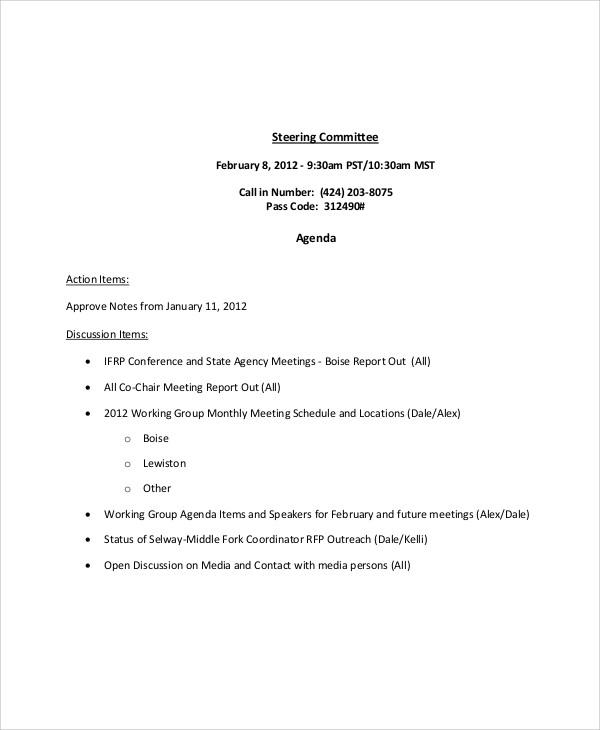 11  sample committee agenda