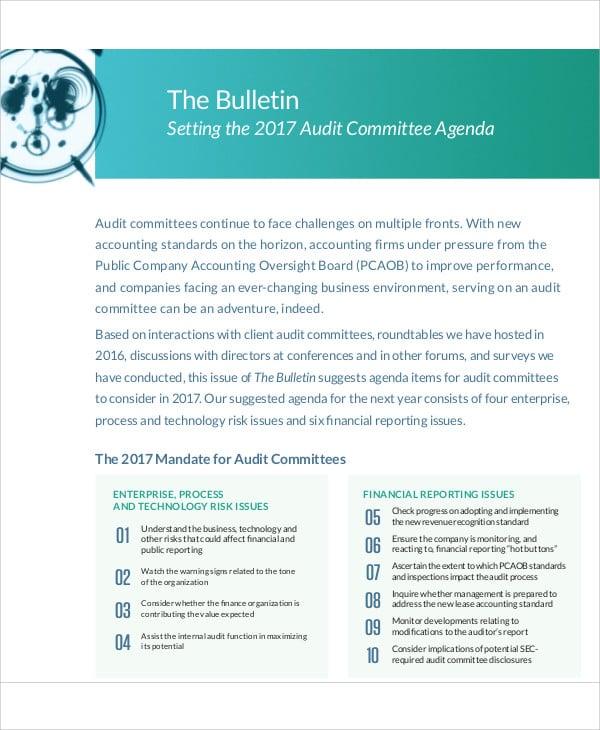 audit committee agenda