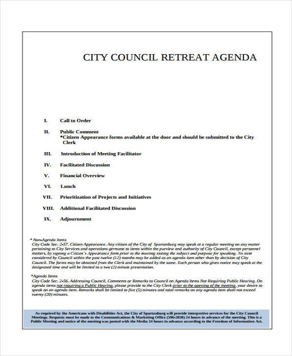 council retreat agenda template