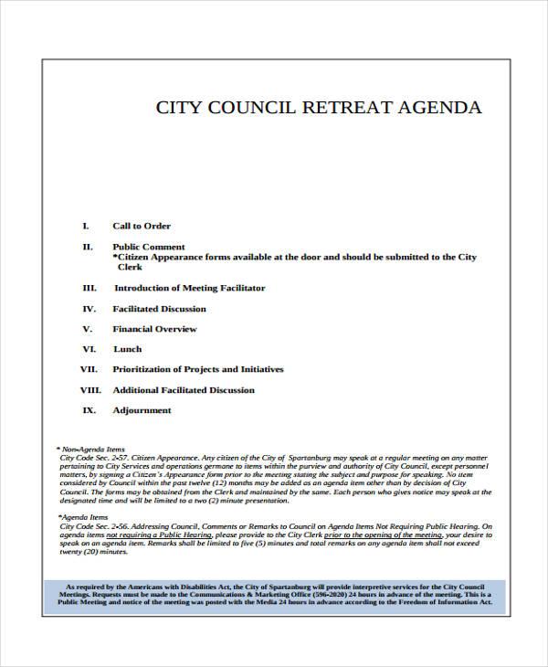 council retreat agenda template