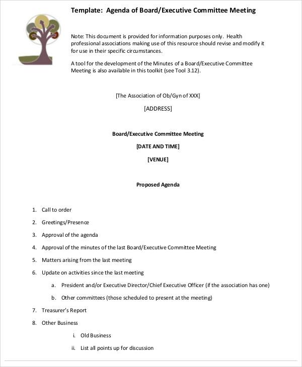 executive committee agenda