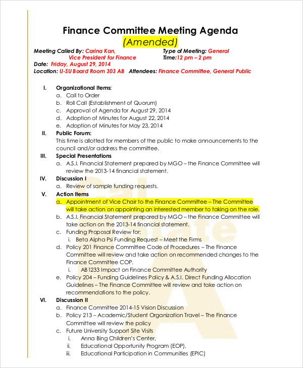finance committee agenda