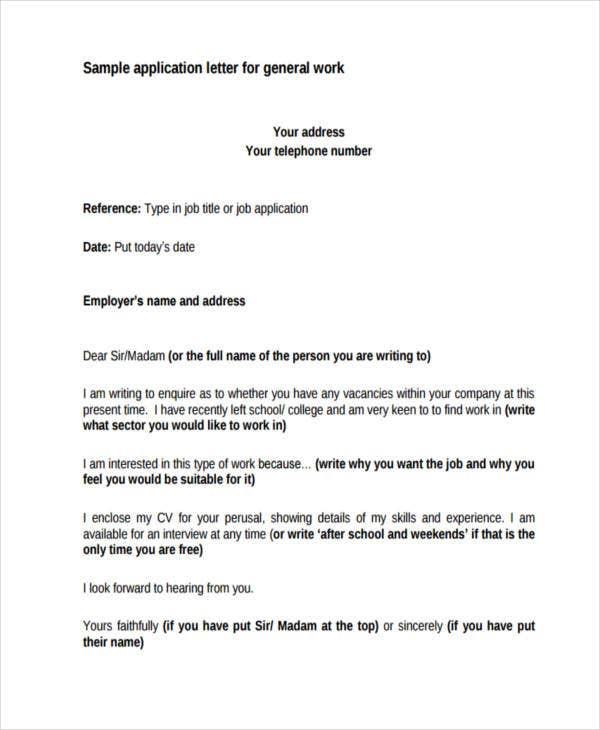 17F+ Sample Work Application Letters - Free Sample, Example Format