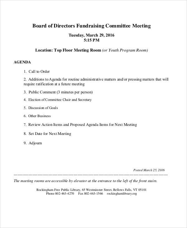 fundraising committee agenda