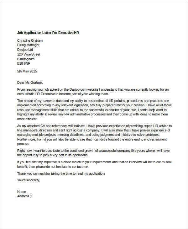 Executive Cover Letters Sample Executive Cover Letter
