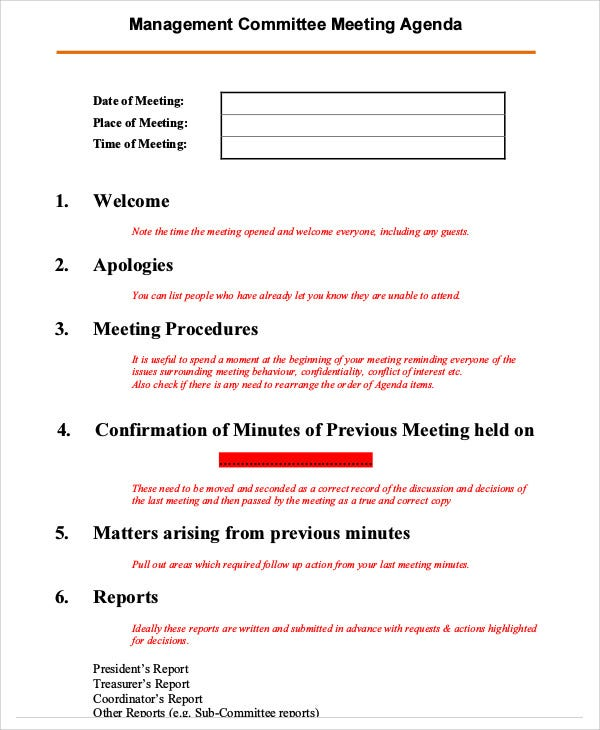 management committee agenda