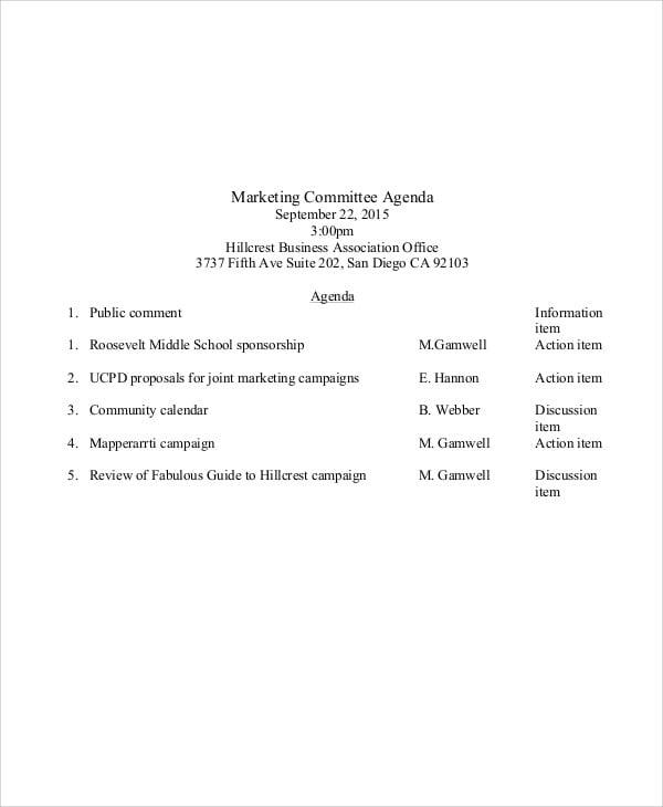 marketing committee agenda