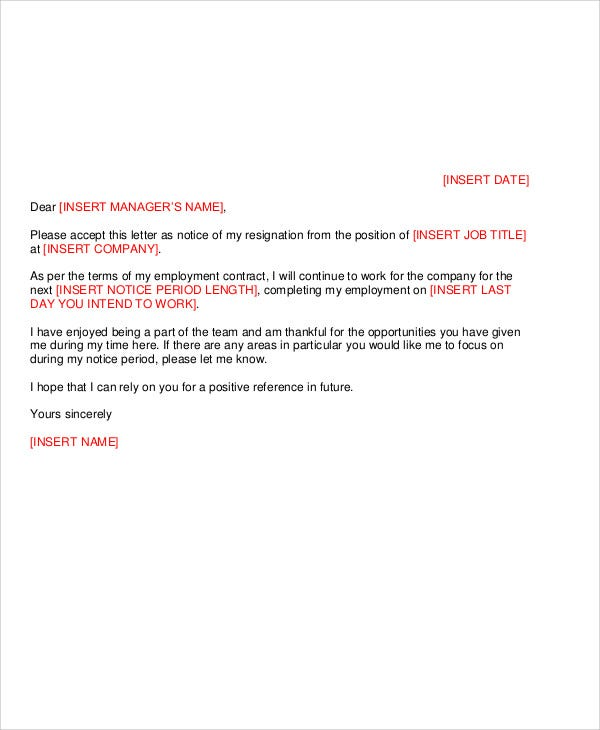 8  work resignation letter template