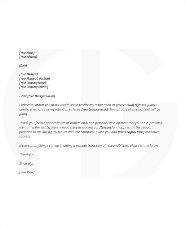 professional work resignation letter
