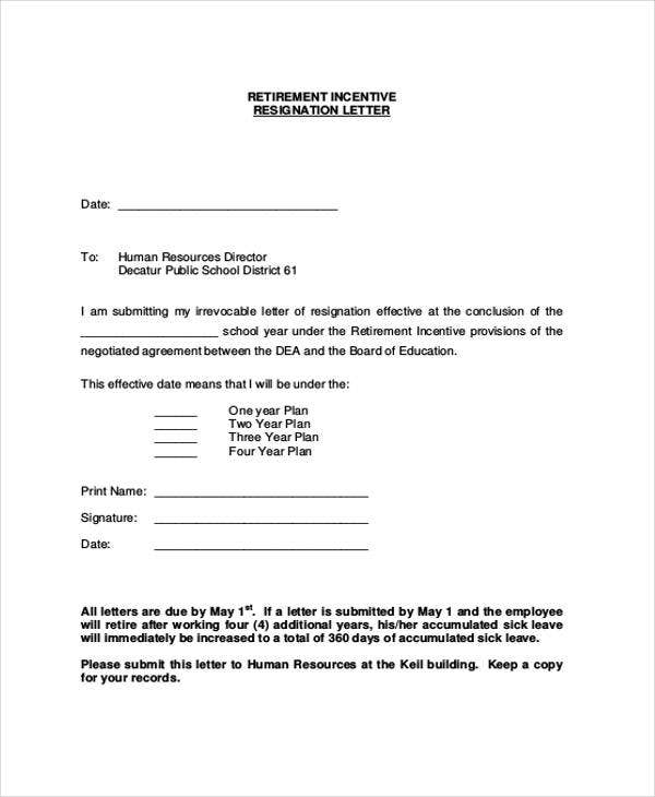 Sample Retirement Resignation Letters  Free Sample Example