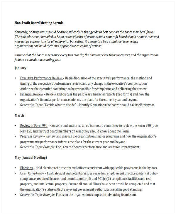 Nonprofit Board Meeting Agenda Template  Letter Format For