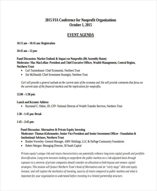 non profit event agenda