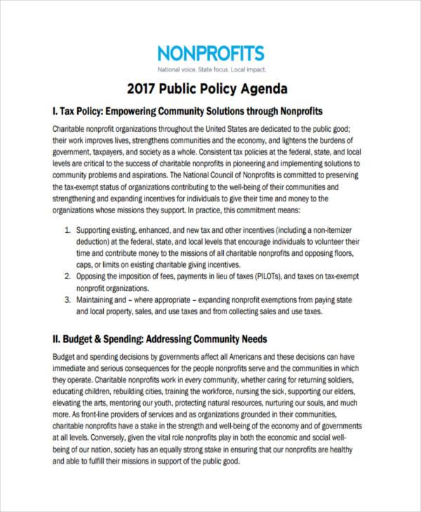non profit policy agenda