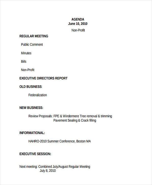 non profit agenda in pdf