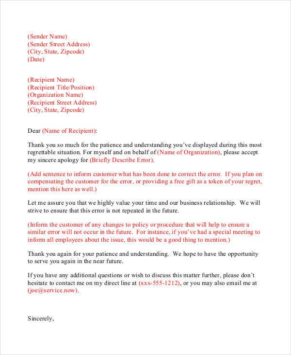 Professional Apology Letter 17 Free Word PDF Format Download