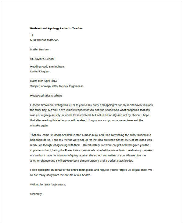 Professional Apology Letter 17 Free Word PDF Format Download – Apology Letter to School