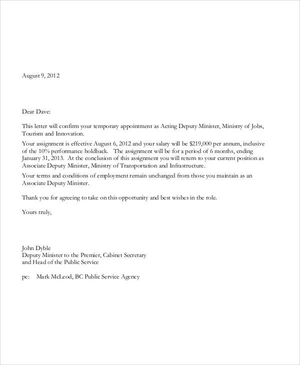 temporary appointment letter