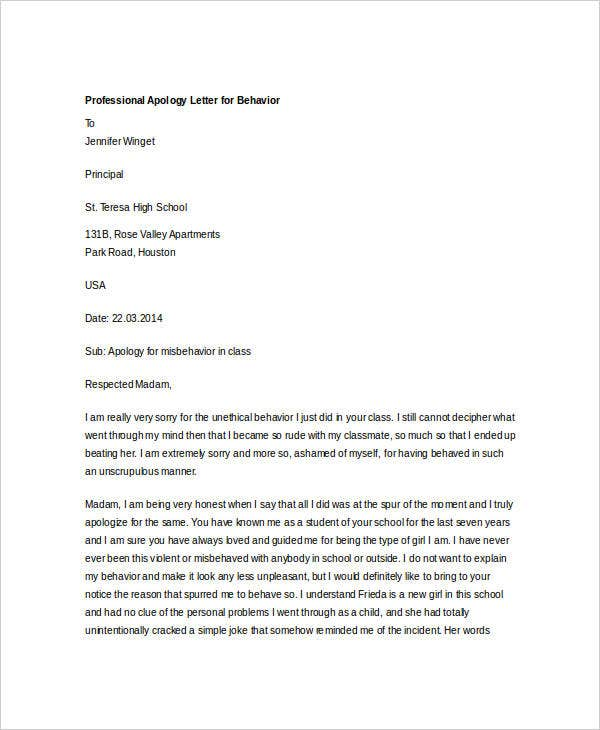 apology letter to boss for not showing up professional apology letter 12 free word pdf format 29088 | Professional Apology Letter for Behavior