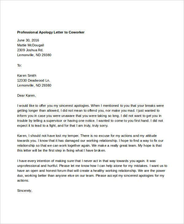 Professional Apology Letters 10 Free Word PDF Format Download – How to Make an Apology Letter