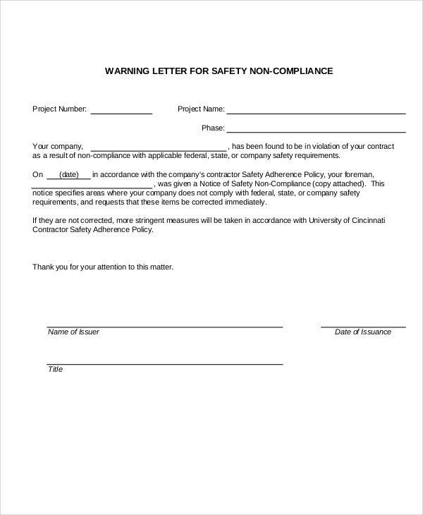 10 safety warning letter templates pdf doc free premium safety violation warning letter template altavistaventures Gallery