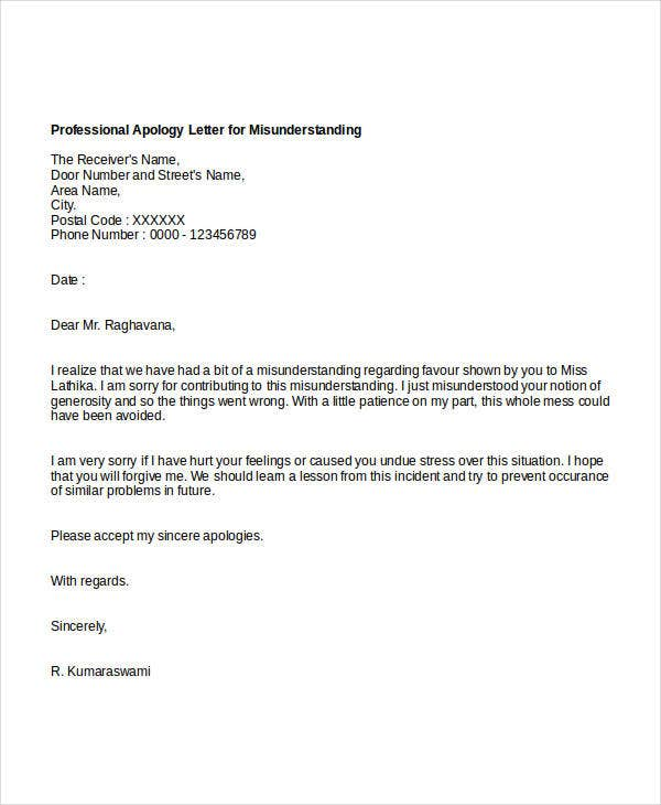 Professional apology letter 17 free word pdf format download professional apology for misunderstanding spiritdancerdesigns Gallery