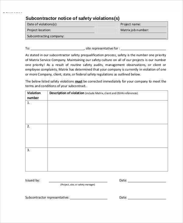 13+Sample Safety Warning Letter Templates - PDF, DOC, Apple Pages
