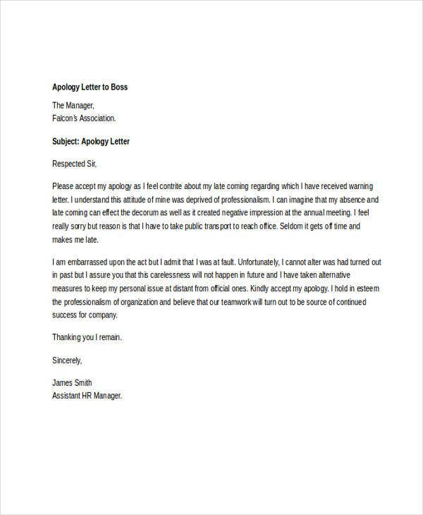 letter of apology to boss