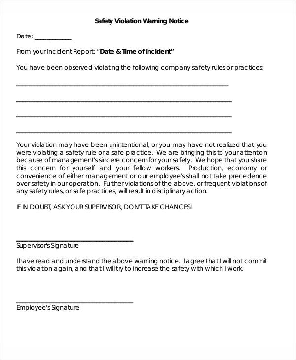 Safety Warning Letter Templates  Free Sample Example Format
