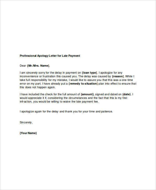 Professional Apology Letters   Free Word Pdf Format Download