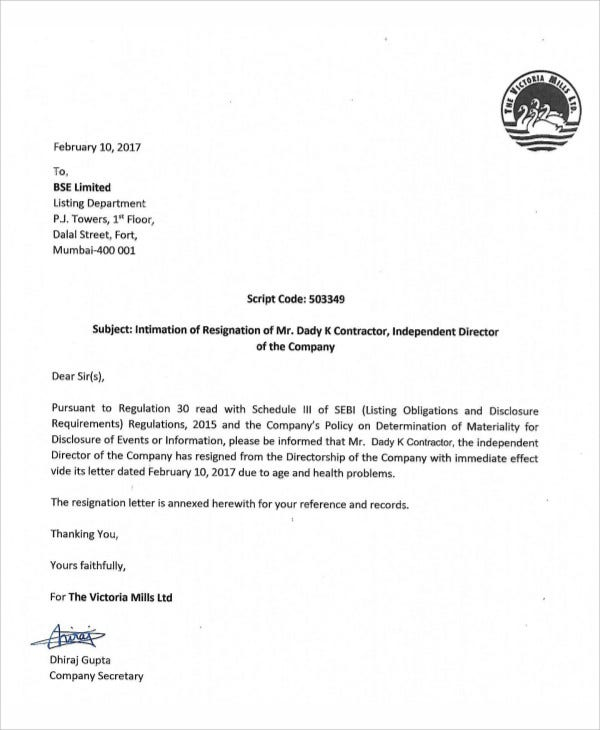 contractor director resignation letter