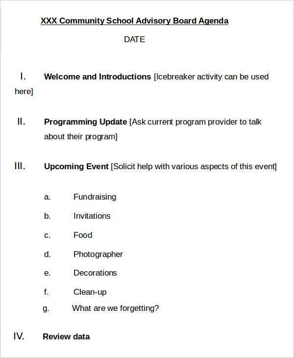 11 advisory agenda templates free word pdf format