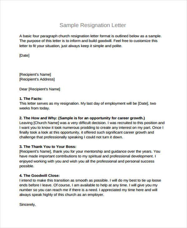 Church Resignation Letter Template - 9+ Free Word, PDF Document ...