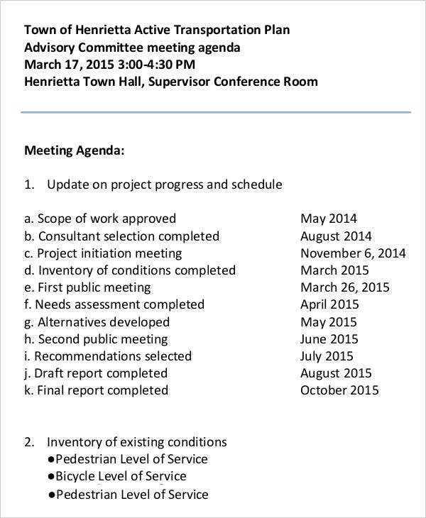 Advisory Committee Meeting Agenda