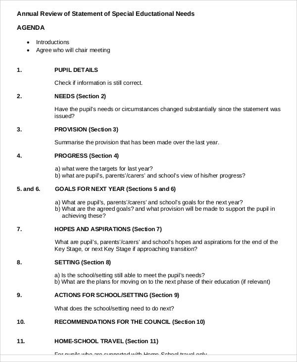 11  sample review agenda