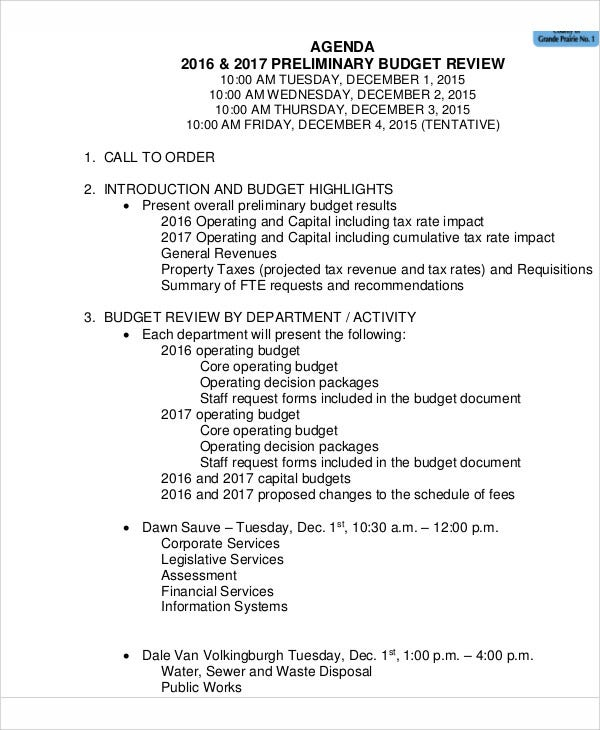 Sample Review Agenda  Free Sample Example Format Download