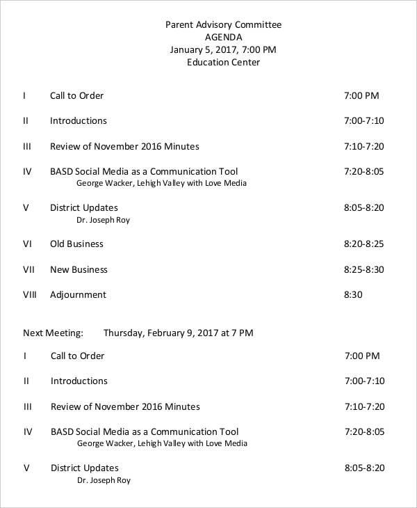 parent advisory committee agenda1