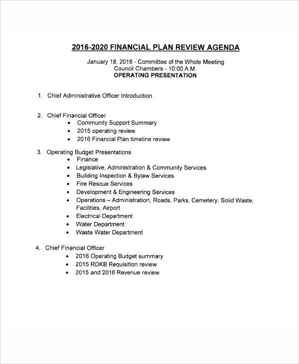 financial planning review agenda