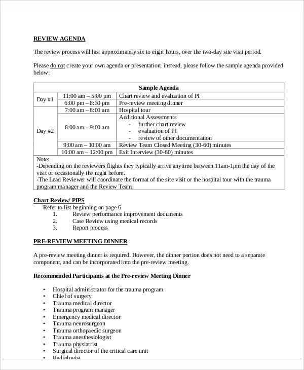 11 sample review agenda free sample example format