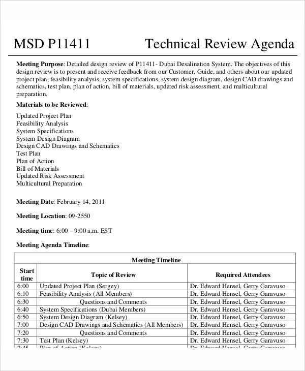 technical review agenda