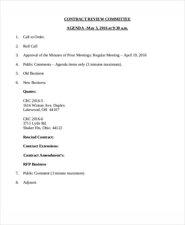 contract review agenda template