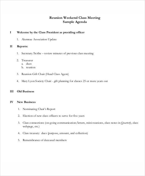 8 reunion agenda templates free sample example format for Class reunion program template