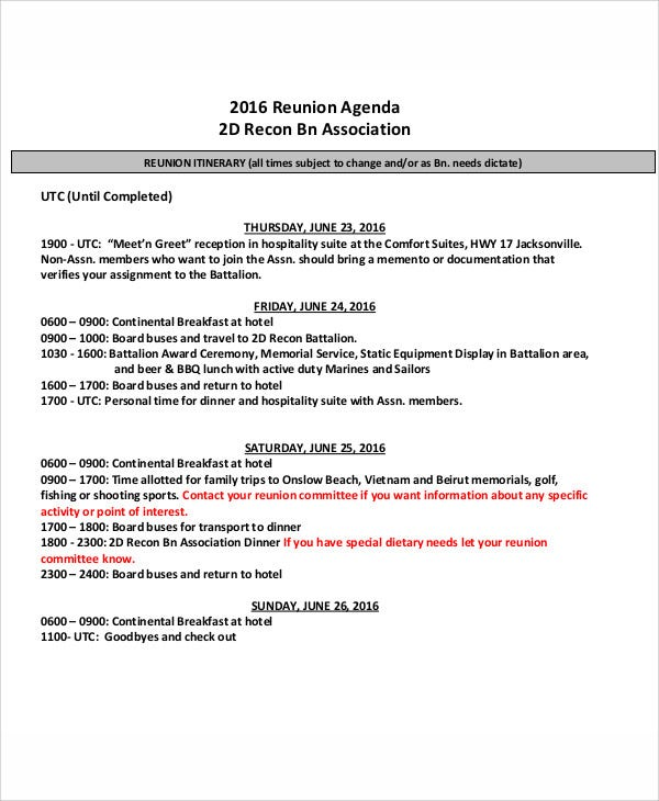 reunion agenda template example