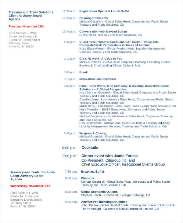 Client Advisory Board Agenda